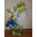 Floral Arrangement of wisteria and hydrangeas